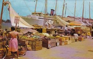 Bahamas Nassau Water Front Market With Cruise Ship In Background