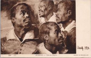 Rubens 'Tetes de Negres' Musee De Bruxelles Brussels Museum c1911 Postcard E35