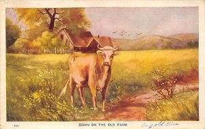 Cow Post Card Down on the Old Farm 1912 Missing Stamp