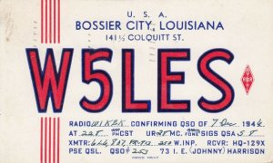 BOSSER CITY , Louisiana, 1946 QSL Radio Postcard