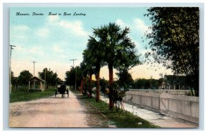 Early Manatee Florida FL Postcard Road To Boat Landing Horse Carriage Street