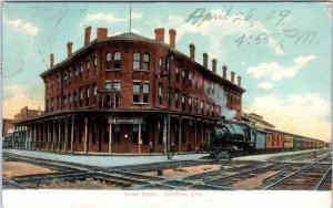 CRESTLINE, OH Ohio  UNION RAILROAD DEPOT Crisscrossing Tracks! 1909   Postcard