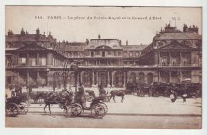 P881 old view paris france la place du palais-royal many horse and carriages
