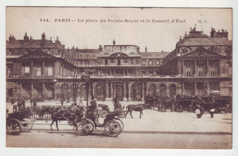 P881 old view paris france la place du palais-royal many horse and carriages