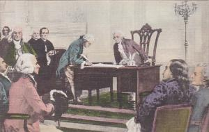 The Signing Of The Constitution Of The United States Of America Handcolored A...