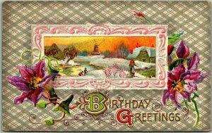 Vintage BIRTHDAY GREETINGS Embossed Postcard Winter Scene / Windmill 1911 Cancel