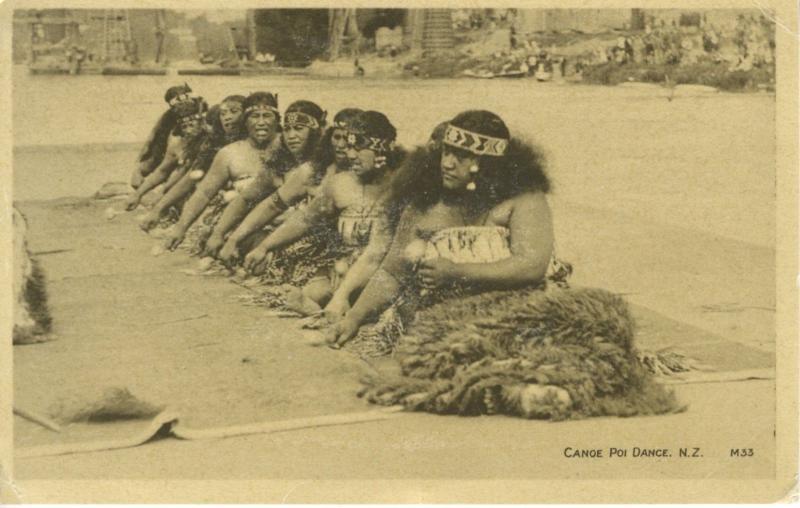 Canoe Poi Dance NZ New Zealand Native Dance Costume Vintage Postcard E4