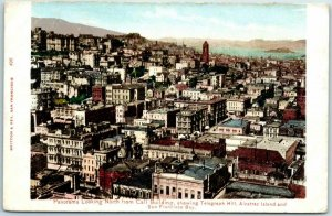 San Francisco CA Postcard Panorama North from Call Building c1900s Unused