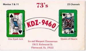 QSL Card, KDZ-9460, Zimmerman, Fleetwood PA