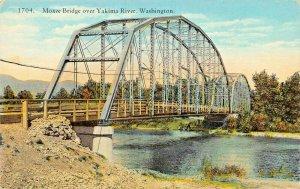 WASHINGTON STATE~MOXEE DOUBLE STEEL BRIDGE OVER YAKIMA RIVER POSTCARD