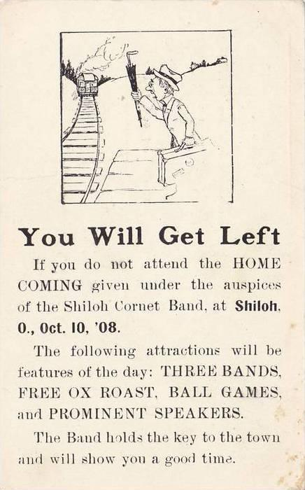 Advertisement for Shiloh Cornet Band, Request To Be A Guest On Home Coming Da...