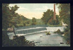 Greenfield, Massachusetts/MA Postcard, Wiley & Russell Dam, 1908!