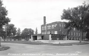 Dumont Iowa~Old Behind, New, In Front: Community School 1960s RPPC