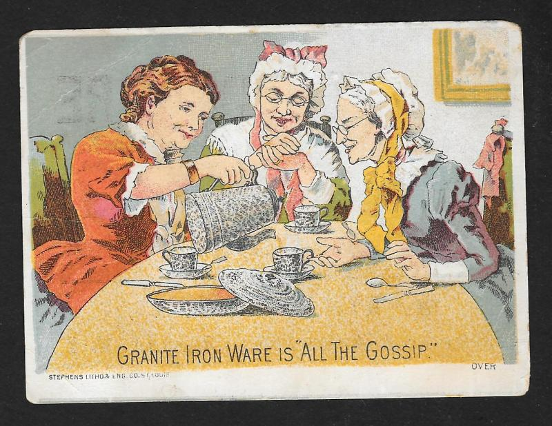 VICTORIAN TRADE CARD Laney Granite Ironware 3 Ladies Having Tea 'All the Gossip'