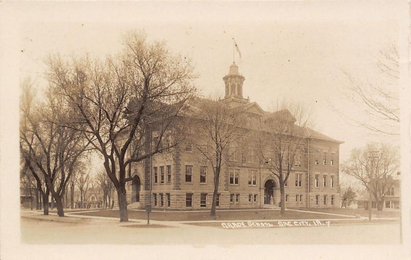 Sac City Iowa~Grade School~Big Houses All Around~c1912 Real Photo Postcard~RPPC