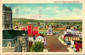 Hamilton OH Aerial View Postcard used (23990)