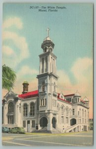 Miami Florida~The White Temple Front View From Street~Vintage Postcard