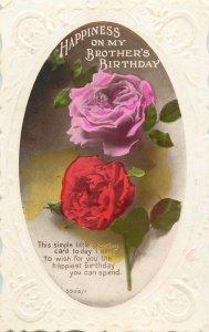 Postcard Greetings birthday flowers brother