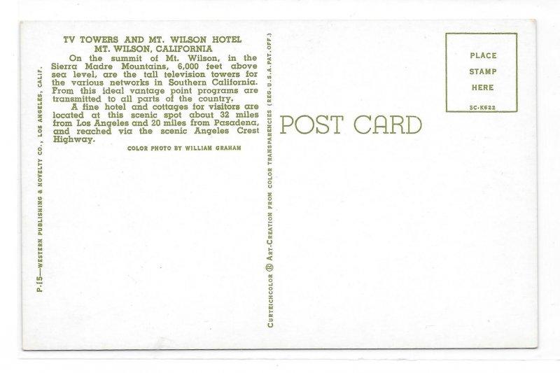 Mt Wilson CA TV Towers and Hotel Sierra Madre Vintage California Postcard