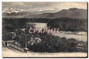 Old Postcard Pau The Chaine des Pyrenees