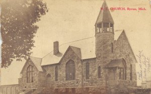 F70/ Byron Michigan Postcard c1910 M.E. Church Building