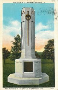Saratoga New York~Memorial To Unknown Dead Soldiers~Battles 1777~1937 PC
