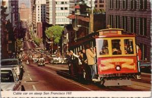 Cable Car San Francisco CA California Hill c1976 Vintage Postcard D51