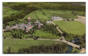 Aerial View of St. Francis Health Resort, Denville, NJ Hand-Colored Postcard