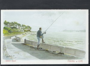 Isle of Wight Postcard- Fishing at Lepe, Cowes - Artist Gervase.A.Gregory RR6590