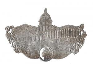 Silver Victorian Diecut Linen Yarn Label Capitol Building