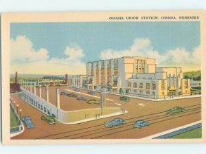 Unused Linen UNION TRAIN STATION Omaha Nebraska NE H5292