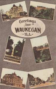 WAUKEGAN , Illinois , PU-1910 ; Greetings, 6-views