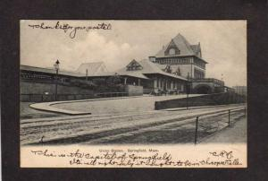 MA 1906 Union Railroad Train Station Depot Springfield Massachusetts Postcard