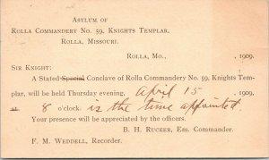 Rolla MO~Asylum~Knights Templar~Weddell-1909 Durward Copeland, School of Mines