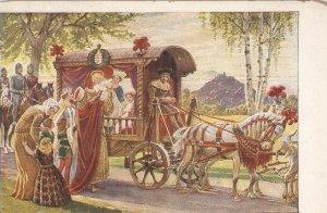 Die heilige Elisabeth. Horses. Carriage Old vintageGerman postard
