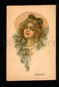 3049729 ART DECO Lady in Flowers UnSign FISHER Vintage PC