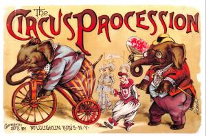 Vintage Reproduction Advertising Poster Postcard, 1888 The Circus Procession O90