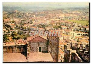 Postcard Modern Leiria Portugal Interieur du Chateau and Partial View of the ...
