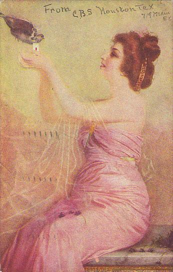Beautiful Woman With Dove Love's Message 1907
