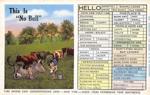 Time Savers Easy Correspondence Card~No Bull~Cartoon Dairy Maid~Cows~1940s PC