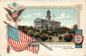 LPS15 Tennessee State Capitol Patriotic Flag Postcard Langsdorf