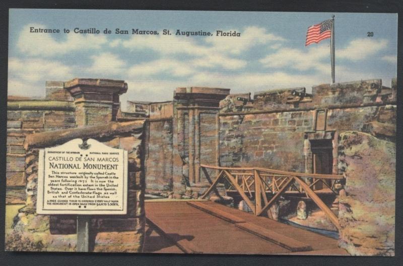 Castillo De San Marcos Florida St. Augustine National Monument Postcard