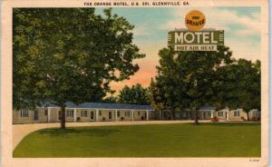 GLENNVILLE, GA Georgia  The ORANGE  MOTEL  c1940s Roadside  Linen Postcard