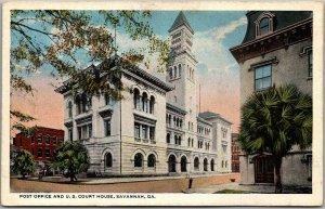Savannah Georgia Postcard Post Office & Court House Street View Curteich 1930s