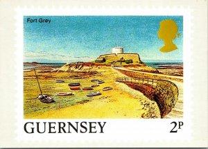 Fort Grey Guernsey Channel Islands stamp vtg postcard