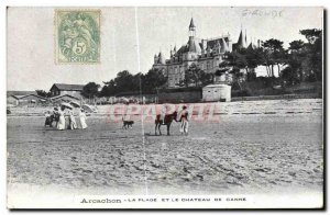 Old Postcard Arcachon The Beach and the Castle Ganne Donkey Mule