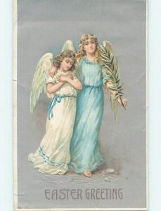 Pre-Linen easter BEAUTIFUL ANGELS TOGETHER HOLDING A PALM LEAF hr2463
