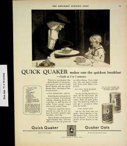 1924 Quaker Oats Quick Quaker Breakfast Child Vintage Print Ad 4216