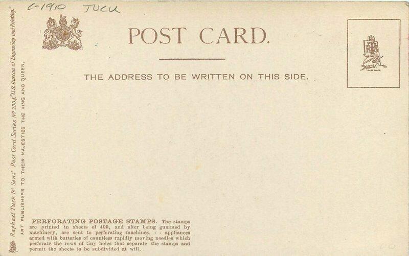 C-1910 US Bureau Engraving Printing Interior Postage Stamps Tuck Postcard 3468