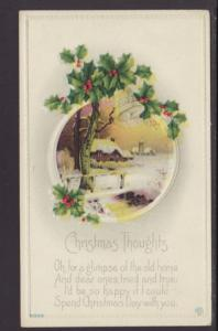 Christmas Thoughts,Holly,Scene Postcard